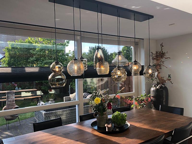 Hanglamp 10 lichts met smoke glas - GROENLO