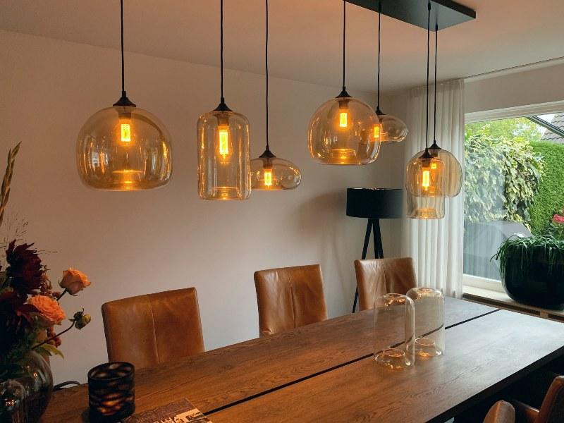 Hanglamp amber glas