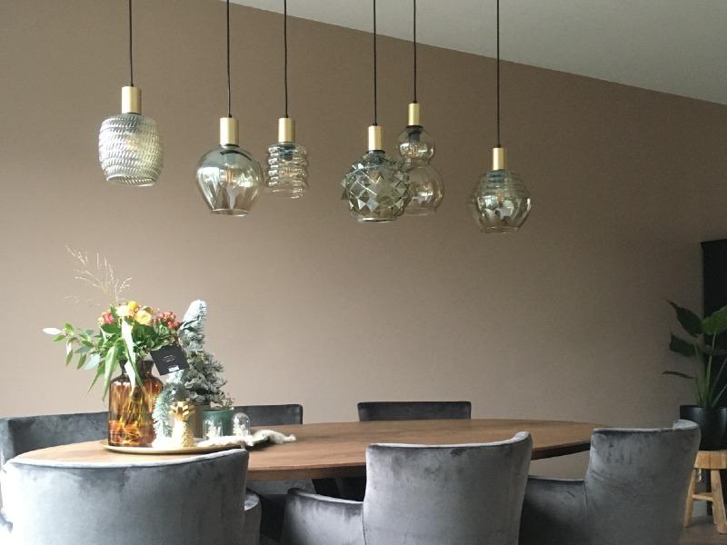 Hanglamp glas met gouden fittingen